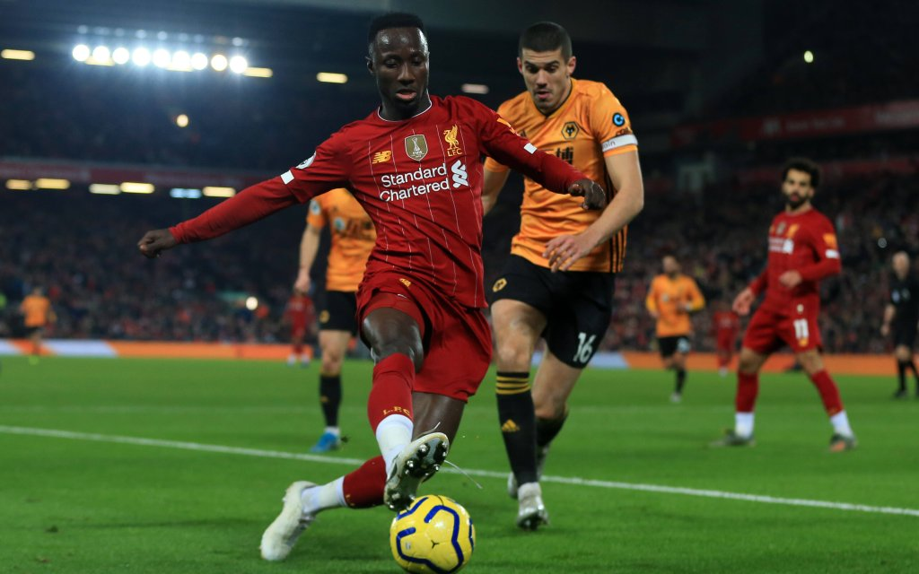 29th December 2019 Anfield, Liverpool, Merseyside, England English Premier League Football, Liverpool versus Wolverhampton Wanderers Naby Keita of Liverpool shields the ball from Conor Coady of Wolverhampton Wanderers
