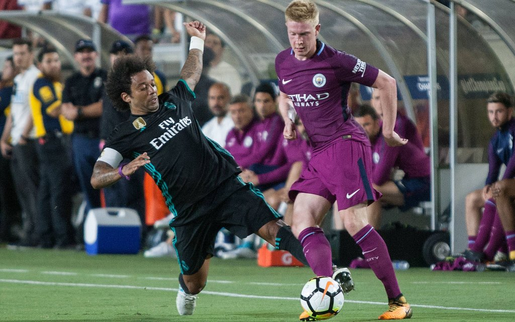 July 26, 2017 - Los Angeles, California, U.S - Marcelo 12 of Real Madrid goes for a take away from Kevin De Bruyne 17 of Manchester City during their International Champions Cup game at the Los Angeles Memorial Coliseum in Los Angeles