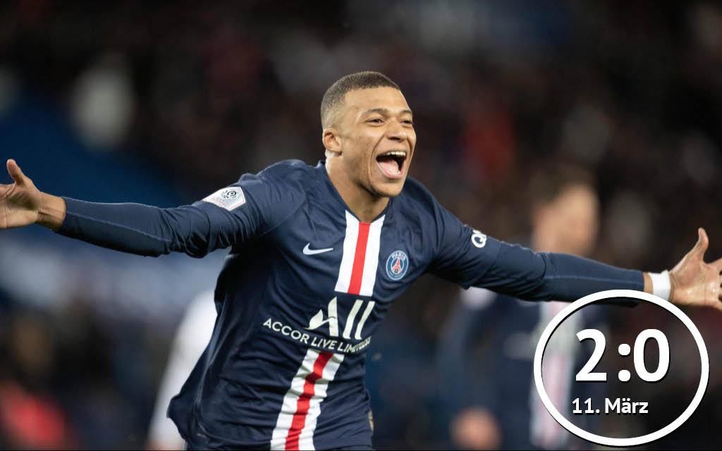 Kylian Mbappe von Paris Saint-Germain feiert einen Treffer für PSG.