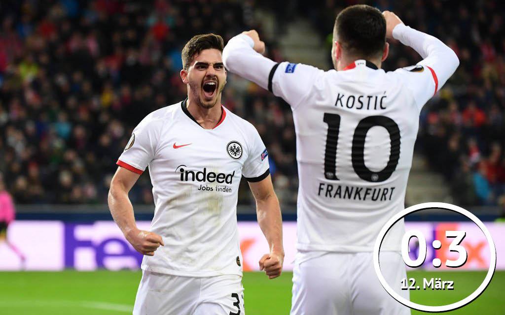 Europa League, RB Salzburg - Eintracht Frankfurt: Andre Silva (l.) und Filip Kostic, beide Eintracht Frankfurt