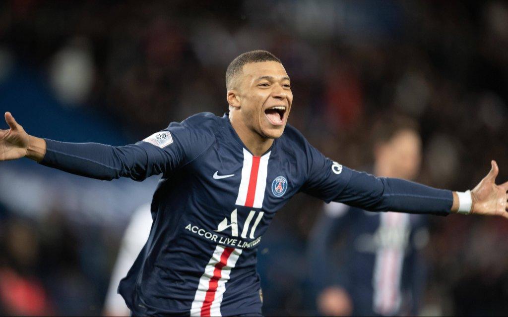200301 -- PARIS, March 1, 2020 -- Kylian Mbappe of Paris Saint-Germain celebrates his goal during the Ligue 1 football match between Paris Saint-Germain PSG and Dijon in Paris
