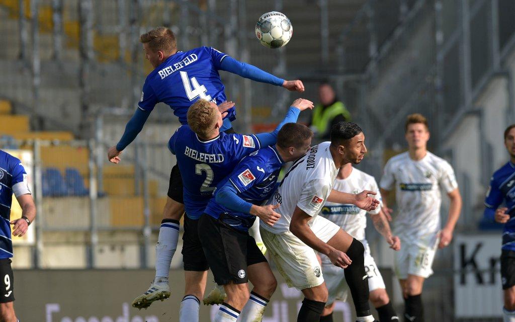 ussball/Herren 2.Bundesliga Saison 2019/2020 DSC Arminia Bielefeld - SV Sandhausen Joakim NILSSON 04 Bielefeld Amos PIEPER 02 Bielefeld Cedric BRUNNER