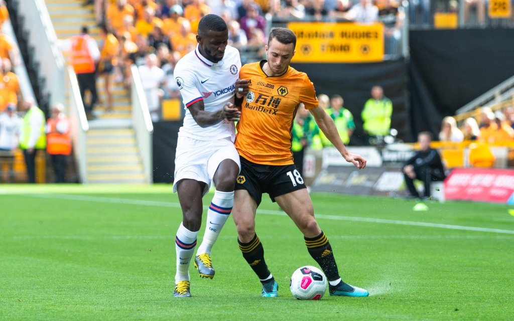 Wolverhampton Wanderers v Chelsea Premier League Antonio Rudiger of Chelsea challenges Diogo Jota of Wolverhampton Wanderers during the Premier League match at Molineux