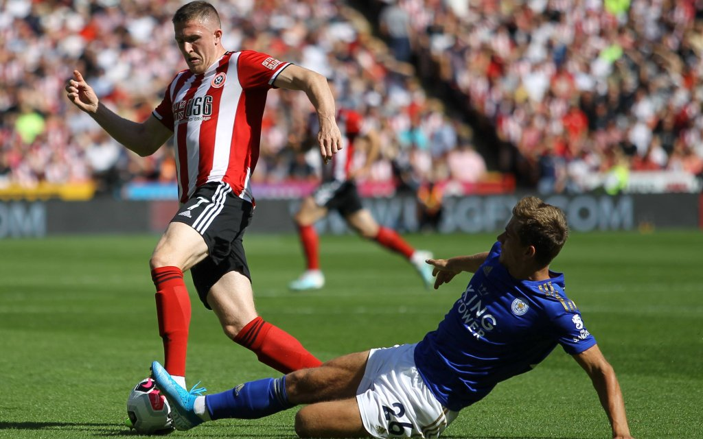 John Lundstram (Sheffield United FC) during the Premier League match between Sheff United and Leicester City at Bramall Lane, Sheffield, England on 24 August 2019