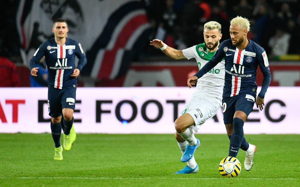 Neymar Jr during the 1/4 League Cup Final between Paris Saint Germain PSG and AS St Etienne at the Parc des Princes stadium on Wednesday January 8, 2020 in Paris