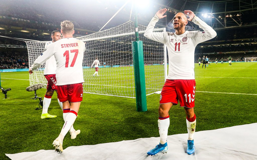 UEFA EURO, EM, Europameisterschaft,Fussball 2020 Qualifying Round Group D, Aviva Stadium, Dublin 18/11/2019 Republic of Ireland vs Denmark Martin Braithwaite of Denmark celebrates scoring his sides first goal