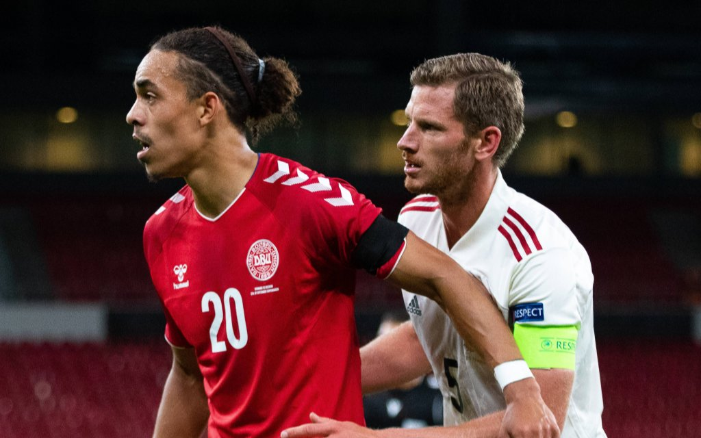 Copenhagen, Denmark. 05th, September 2020. Yussuf Poulsen 20 of Denmark and Jan Vertonghen 5 of Belgium seen during the UEFA Nations League match between Denmark and Belgium at Parken in Copenhagen.