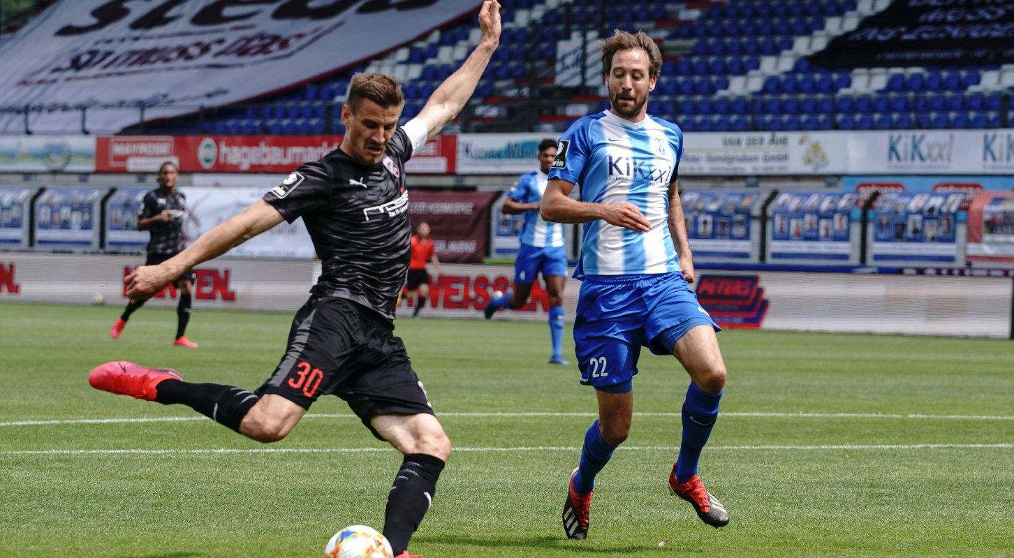 3. Liga - SV Meppen - FC Ingolstadt 04 - Alleingang zu Tor, Stefan Kutschke 30, FCI schießt das 0:1, Jubel, Puttkammer Steffen 22 Meppen 3. Liga