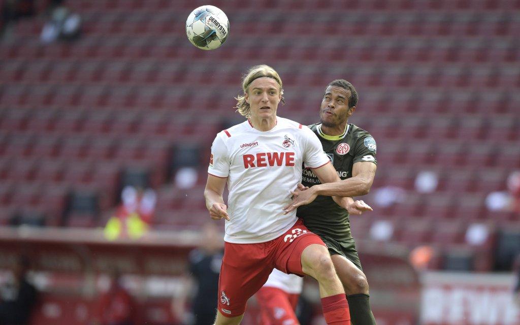 1.FC KOELN-FSV MAINZ 05,17.05.2020 Sebastian BORNAUW 1.FC Koeln Aktion,Zweikampf gegen Robin QUAISON 1.FSV Mainz 05 Fussball: 1. Bundesliga: Saison 19/20: 26.Spieltag