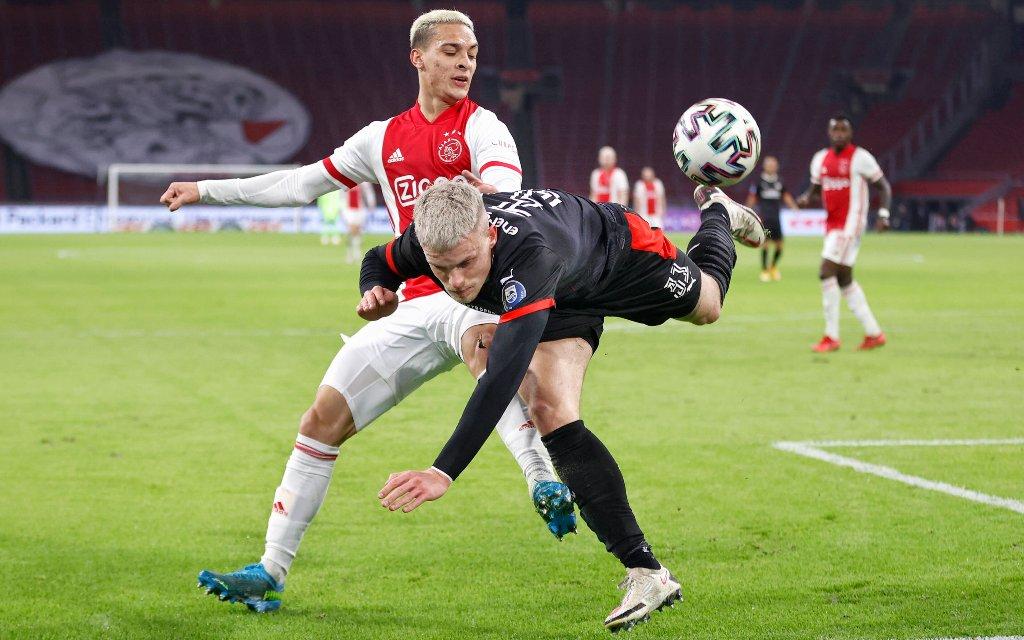 Dutch Eredivisie Football between Ajax and PSV 2-2. Ajax player Anthony Matheus dos Santos and PSV player Philipp Max Ajax - PSV.