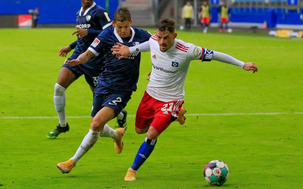 Tim Leibold HSV Cristian Gamboa Bochum Deutschland , Hamburg , Volksparkstadion , 2. Fussball Bundesliga , Hamburger SV - VFL Bochum