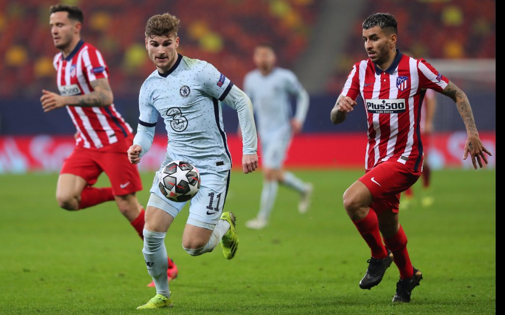 Atletico Madrid v Chelsea UEFA Champions League Angel Correa of Atletico Madrid and Timo Werner of Chelsea during the UEFA Champions League match at Arena Nationala, Bucharest