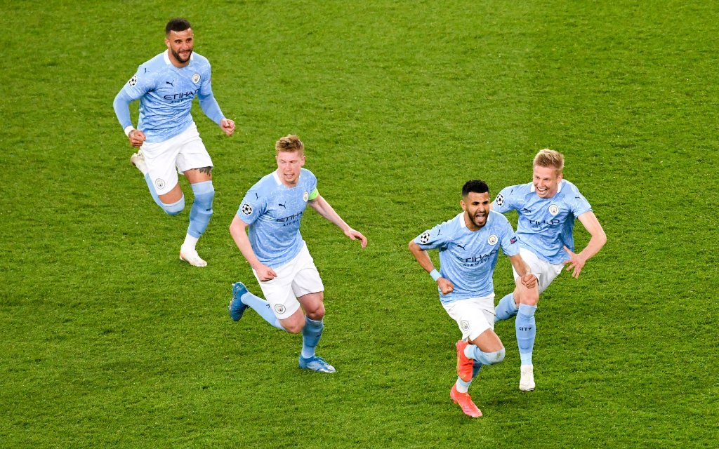 26 Riyad Mahrez man - JOIE - FAIR PLAY FOOTBALL : Paris SG vs Manchester City - Ligue des Champions - 28/04/2021