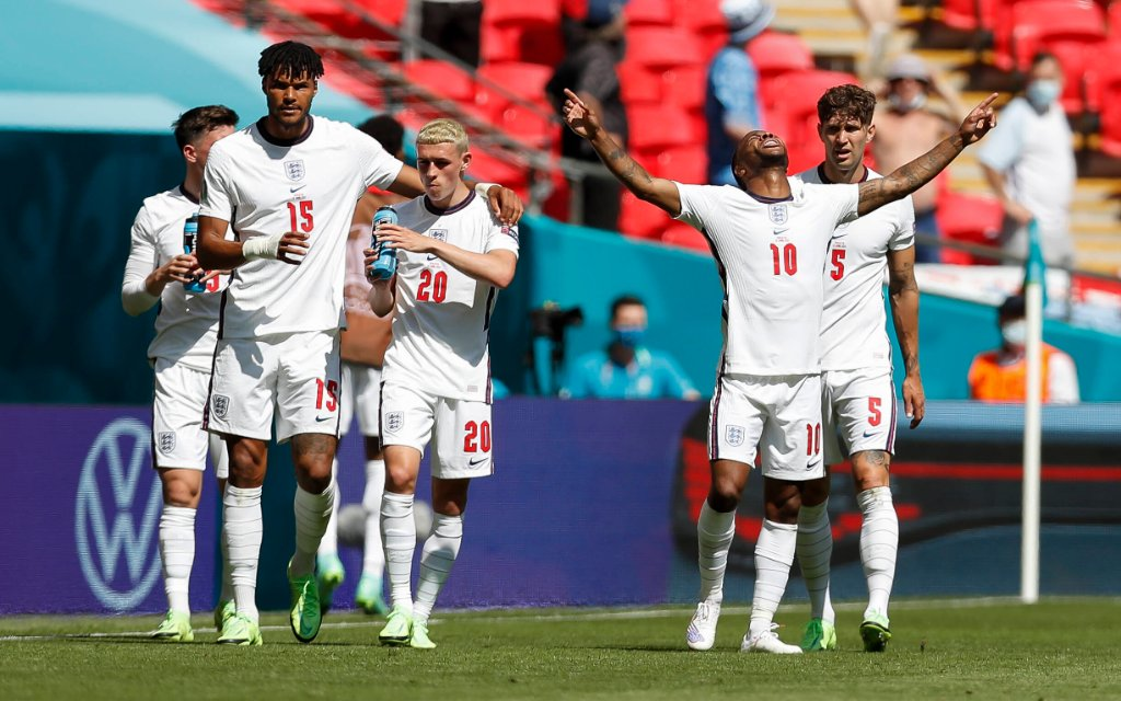 England s Raheem Sterling 2nd R celebrates after scoring a goal during the Group D match between England and Croatia at the UEFA EURO, EM