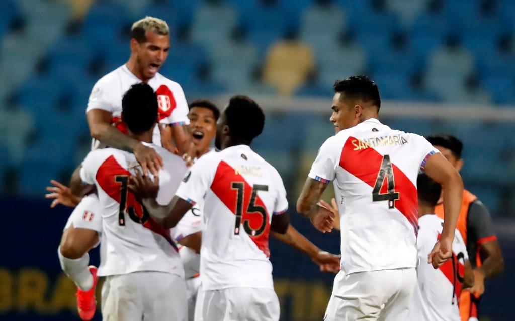 Peru x Paraguay GOINIA, GO - 02.07.2021: PERU X PARAGUAY - Match between , Peru x Pasraguai valid quarterfinal match Copa Amrica Brasil 2021