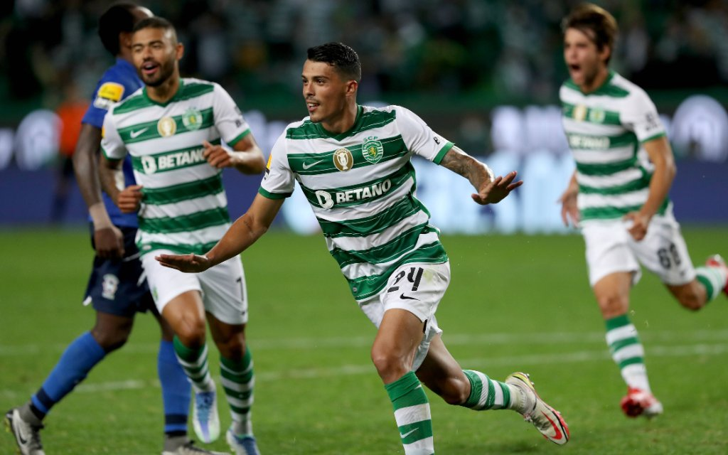 September 24, 2021, Lisbon, Portugal: Pedro Porro of Sporting CP C celebrates after scoring a goal during the Portuguese League football match between Sporting CP and CS Maritimo at Jose Alvalade stadium in Lisbon