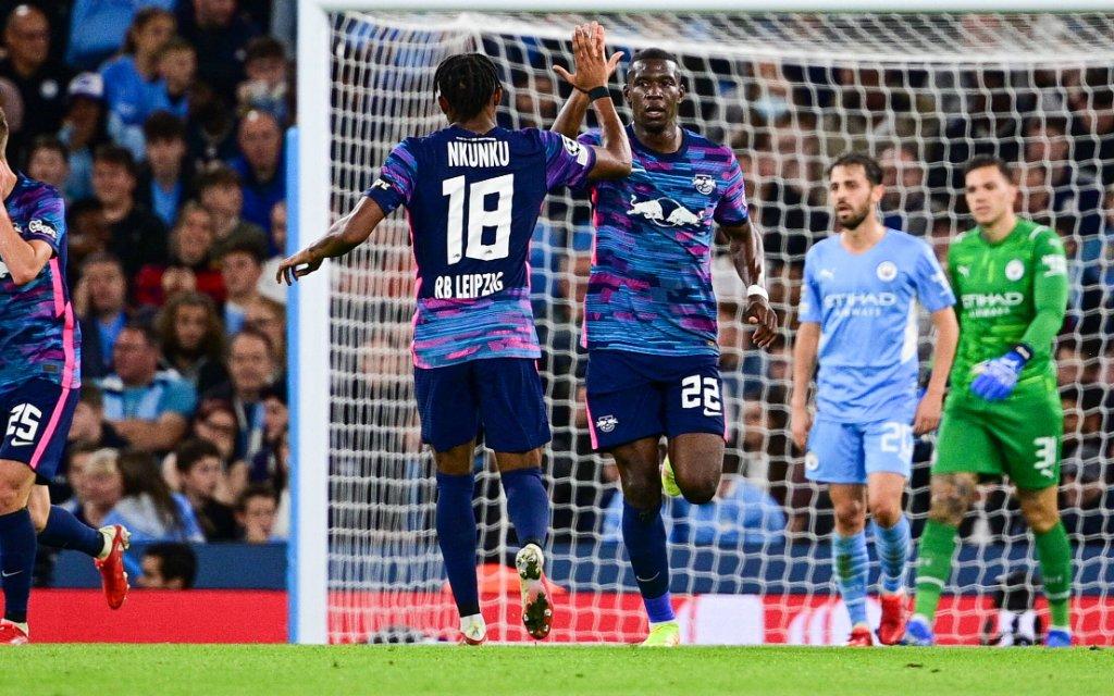 Fußball Champions League Gruppenphase 1. Spieltag Manchester City - RB Leipzig am 15.09.2021 im Etihad Stadium in Manchester Torjubel zum 2:1 durch Christopher Nkunku Leipzig
