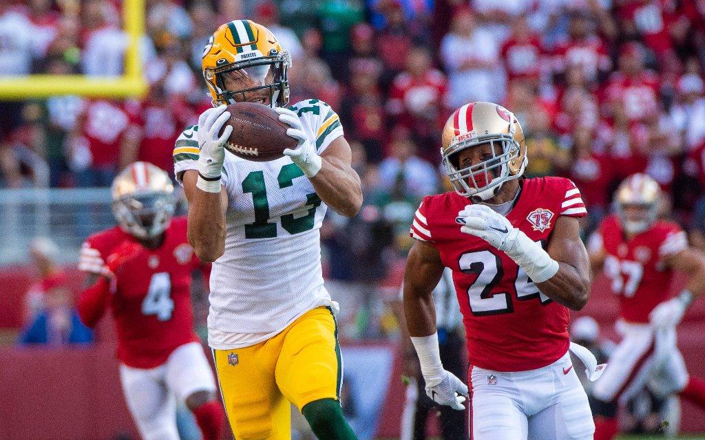 Green Bays Receiver Lazard (2.v.l) mit dem Catch gegen die 49ers