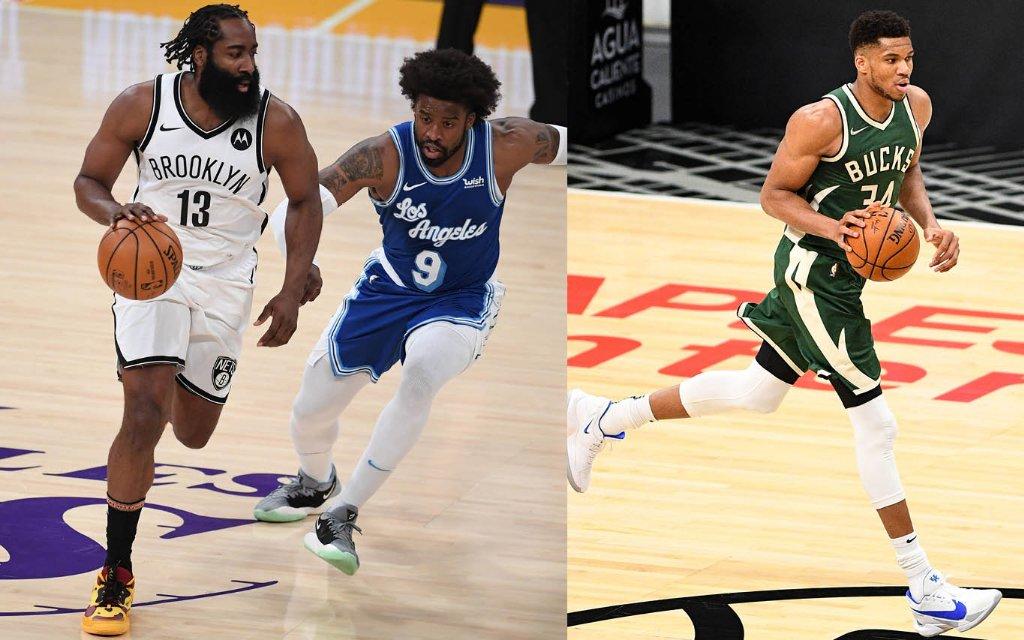 Brooklyns Hard (l.) und Milwaukees Antetokounmpo (r.) im Playoff-Rematch
